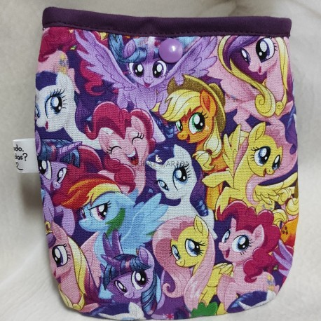 Bolsa porta mascarillas pequeño pony fondo lila