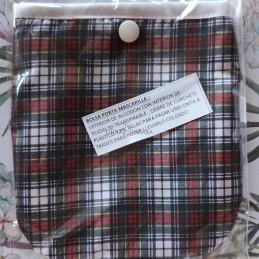Bolsa porta mascarillas escocesa cruzada rojo y negro