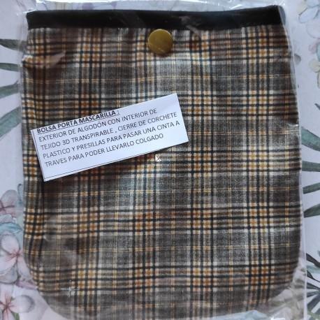 Bolsa porta mascarillas escocesa gris y mostaza