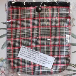 Bolsa porta mascarillas escocesa rojo y gris