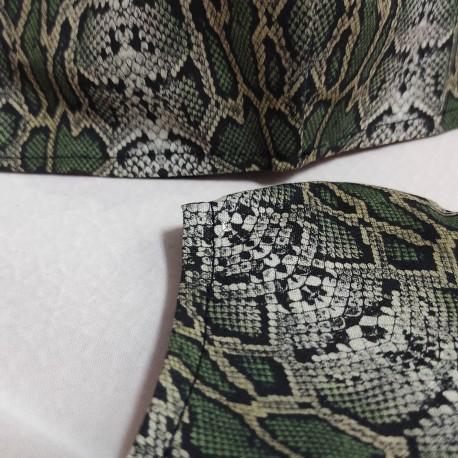 Mascarilla (HIDROFUGA-ANTIBACTERIA) adulto serpiente verde