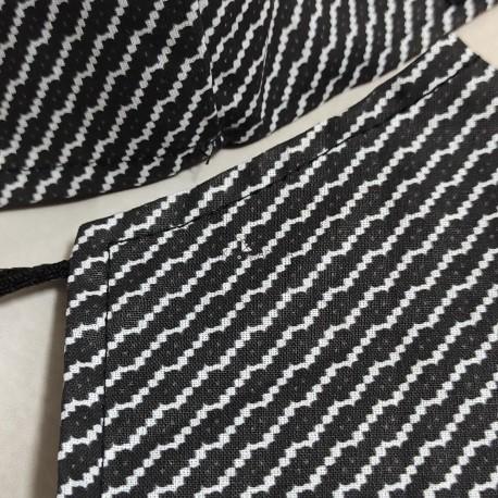 Mascarilla (HIDROFUGA-ANTIBACTERIA) Adulto Negro raya blanca diagonal geométrica