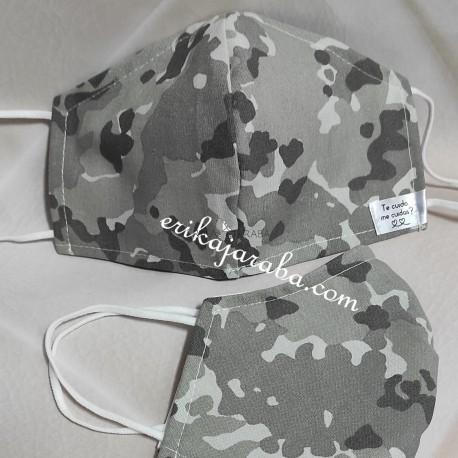 Mascarilla (HIDROFUGA-ANTIBACTERIA) Adulto Militar gris claro