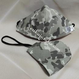 Mascarilla (HIDROFUGA-ANTIBACTERIA) niño  militar gris claro con gomas en la cabeza