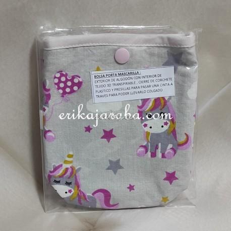 Bolsa porta mascarillas Unicornio estrellas