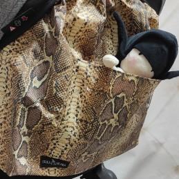 Mochila respaldo XL Estampado serpiente marrón tratamiento teflón impermeable