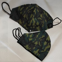 Mascarilla (HIDROFUGA-ANTIBACTERIA)  Junior Militar verde oscuro