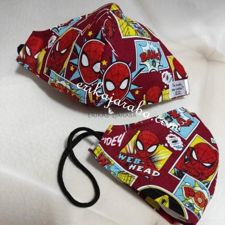 Mascarilla (HIDROFUGA-ANTIBACTERIA) niño spiderman comic con gomas en la cabeza