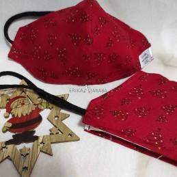 Mascarilla (HIDROFUGA-ANTIBACTERIA) niño Arboles de navidad fondo rojo con gomas en la cabeza