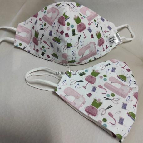 Mascarilla (HIDROFUGA-ANTIBACTERIA) junior Costura rosa
