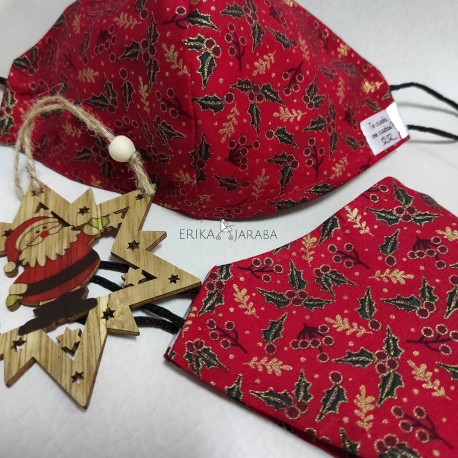 Mascarilla (HIDROFUGA-ANTIBACTERIA) Junior Arboles de navidad fondo rojo