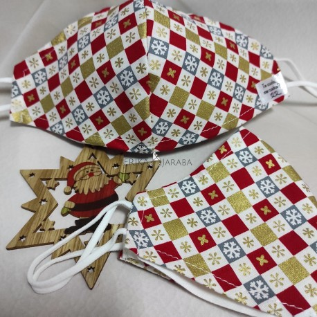Mascarilla (HIDROFUGA-ANTIBACTERIA) junior Mosaico navidad