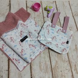 bolso y manta para muñecas unicornio