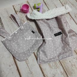 bolso y manta para muñecas rosa estrellas