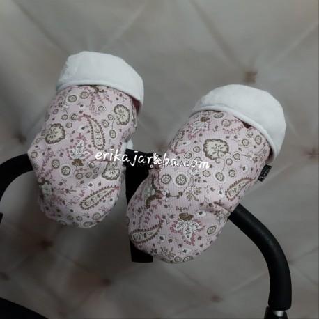 Manoplas flores con fondo rosa y pelo blanco