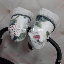 Manoplas de flores pelo blanco