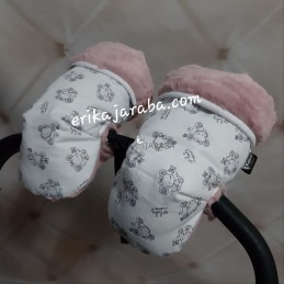 Manoplas de ratoncitos con pelo rosa